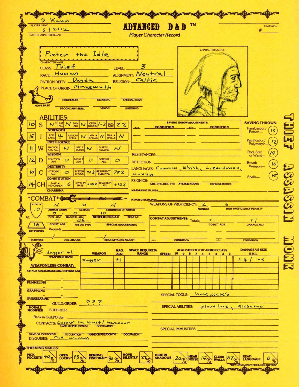 Pieter character sheet