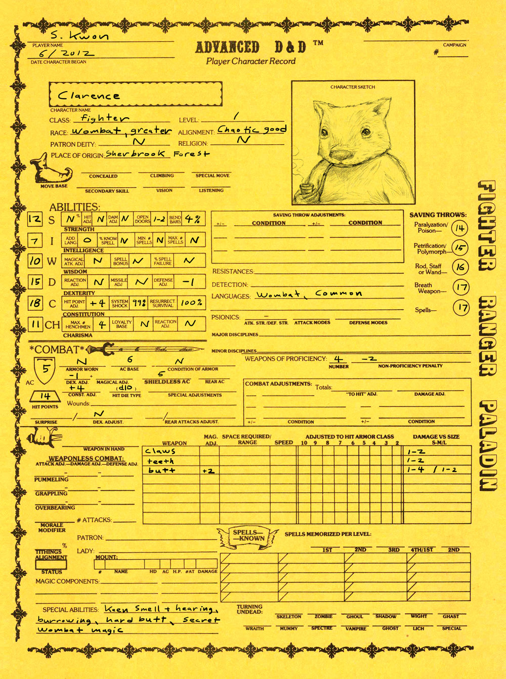 Clarence character sheet