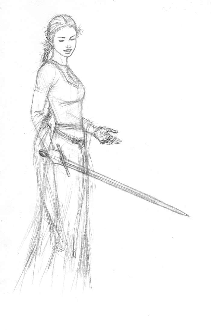 Elf in Dress Sketch