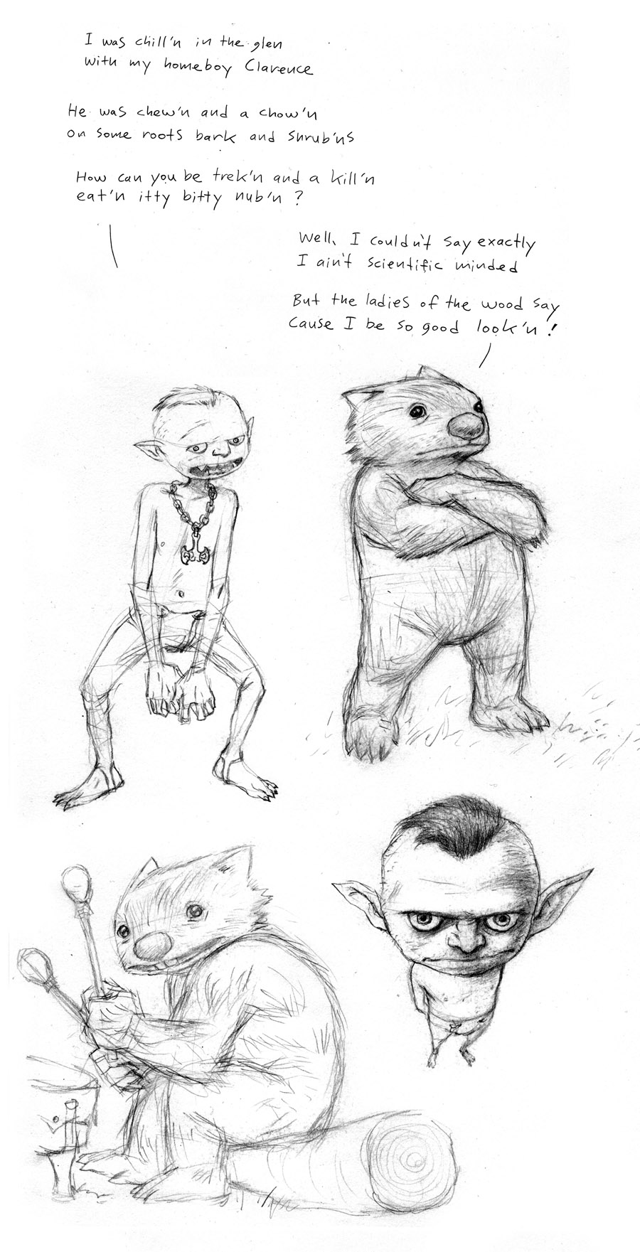 Goblin & Wombat Sketches