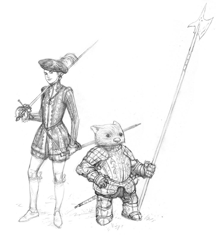 Renaissance Elf & Wombat Sketch