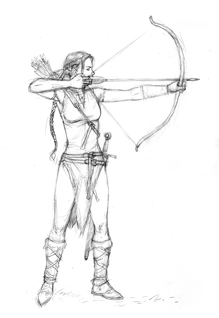 Elf Drawing Bow Sketch