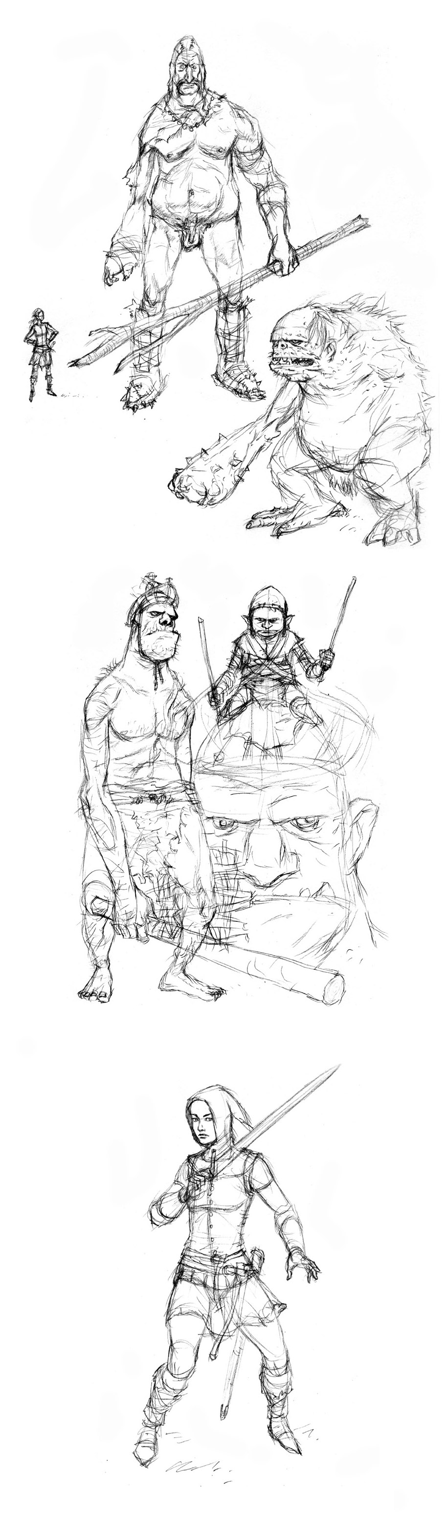 Giants & Elf Sketches