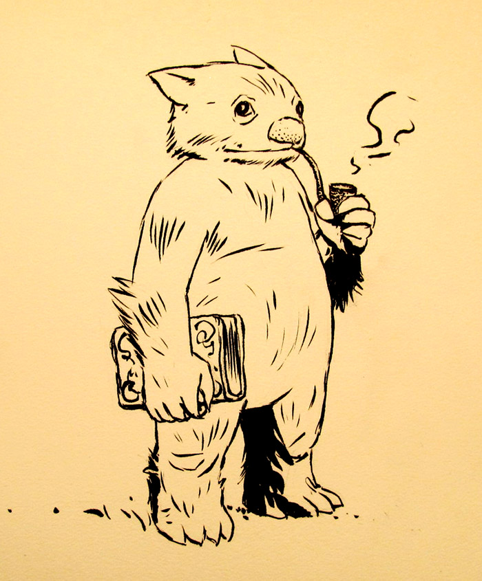 Wombat Lawyer with Book & Pipe